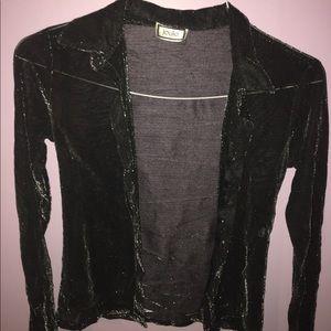 Black Sparkling Mesh Button Top